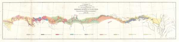 Geological Map of the Route Explored by Lieut. A. W. Whipple, Corps of Topographical Engineers near the parallel of 35 degrees North Latitude from the Mississippi River to the Pacific Ocean. 1853-1854.