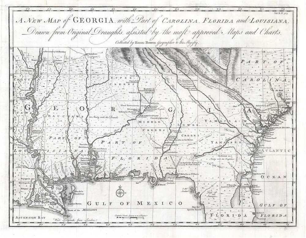 A New Map of Georgia with Part of Carolina, Florida and Louisiana. - Main View