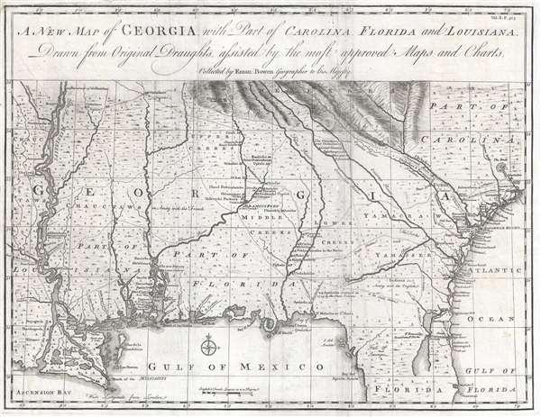 A New Map of Georgia with Part of Carolina, Florida and Louisiana.
