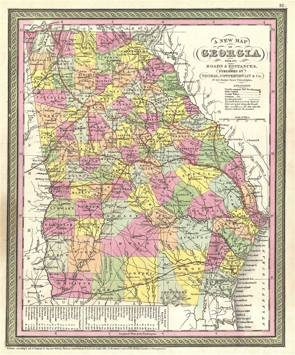 A New Map of Georgia with its Roads & Distances. - Main View
