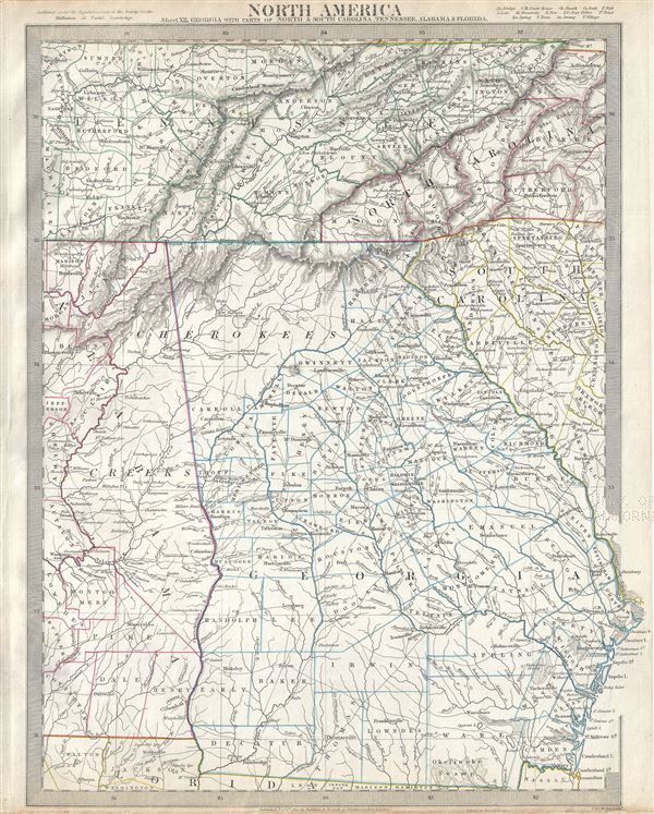 Map Of Georgia Tennessee And South Carolina.North America Sheet Xii Georgia With Parts Of North And
