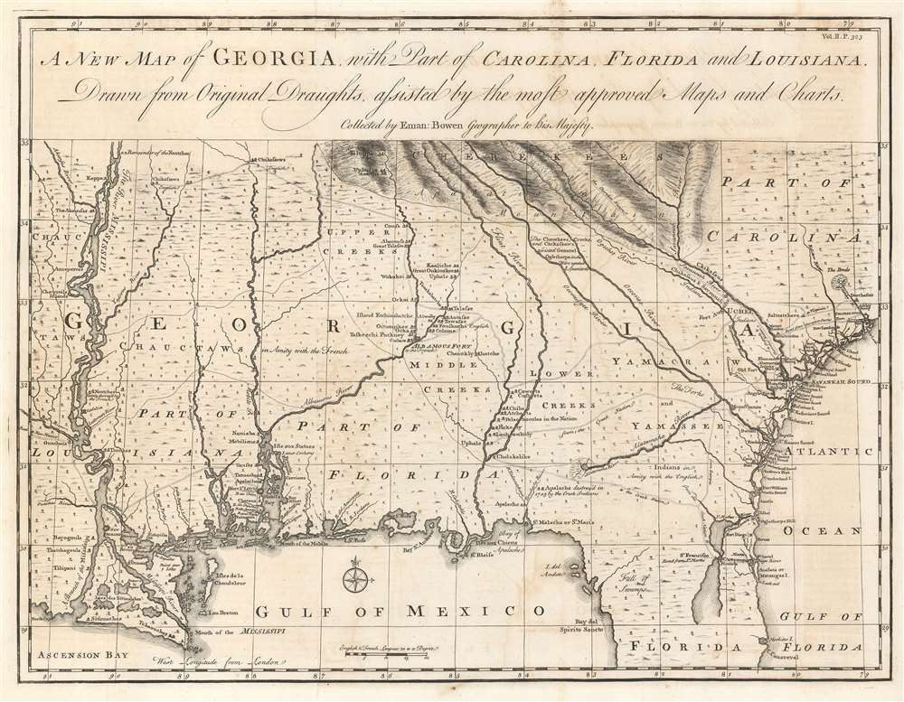 A New Map of Georgia with Part of Carolina, Florida and Louisiana. - Main View