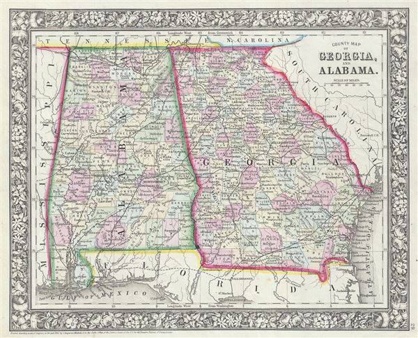 County Map of Georgia and Alabama.
