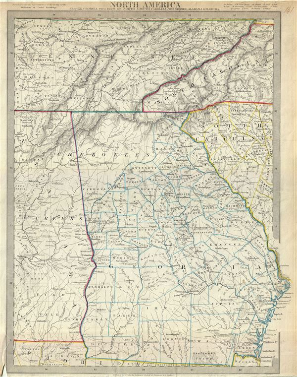 North America Sheet XII.  Georgia, with Parts of North and South Carolina, Tennessee, Alabama and Florida.