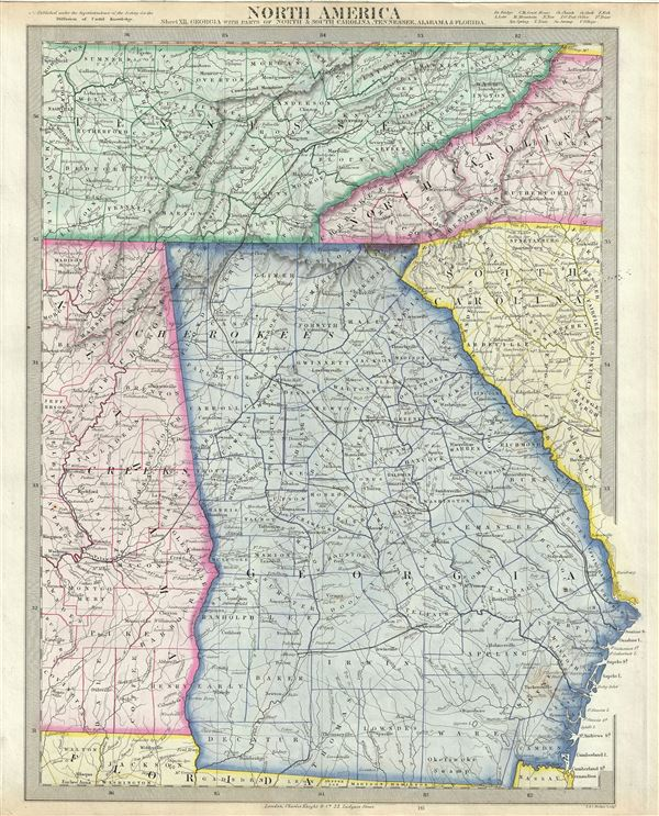 Map Of Georgia And South Carolina North America Sheet XII. Georgia, with Parts of North and South