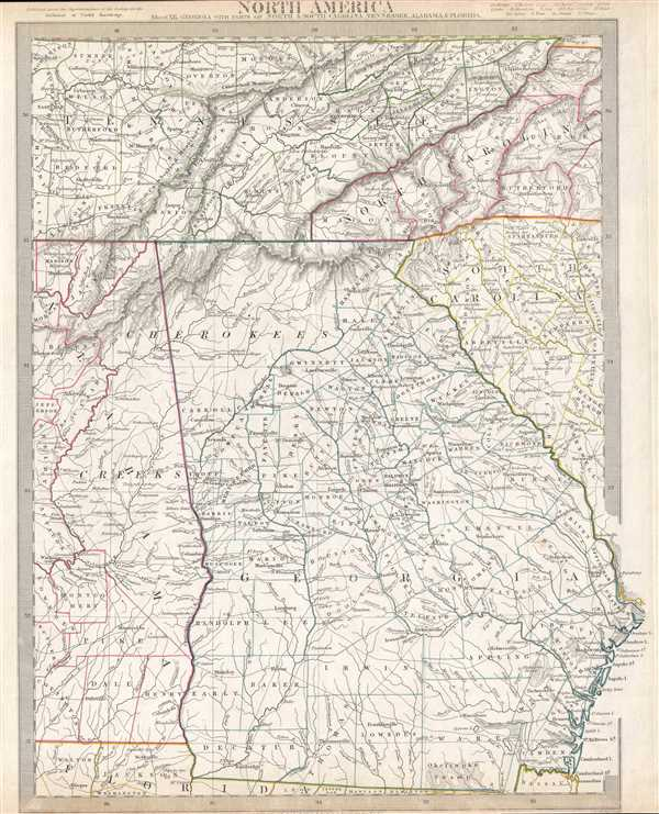 North America Sheet XII.  Georgia, with Parts of North and South Carolina, Tennessee, Alabama and Florida. - Main View