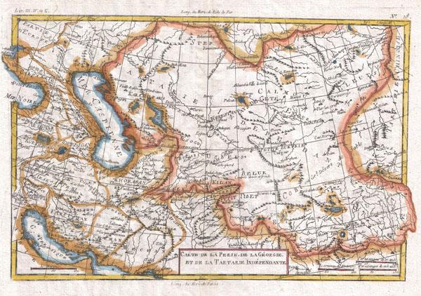 Carte De La Perse, De Ka Georgie, Et De La Tartarie Independante