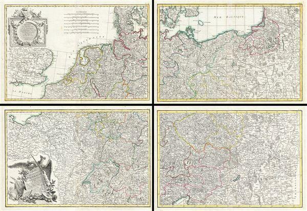 Carte de L'Empire D'Alemagne avec les Etats de Boheme.