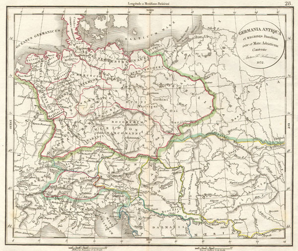 Delamarche's Map of Germany in Roman Times. - Main View