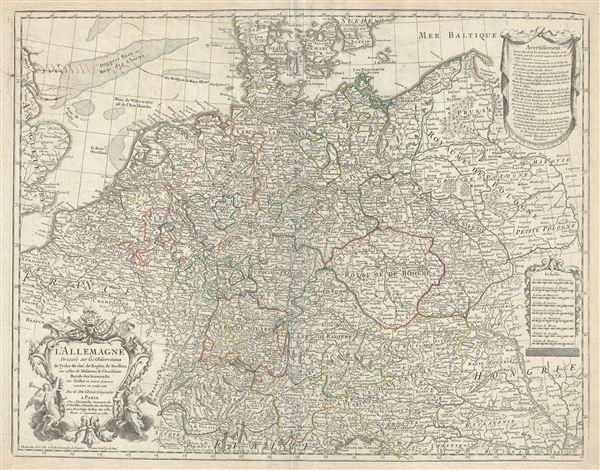 L'Allemagne Dressee sur les observations de Tycho-Brahe, de Kepler, de Snellius, sur celles de Messieurs de l'Academie Royale des Sciences etc. - Main View