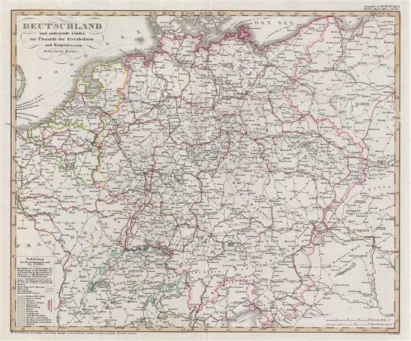 Deutschland und anliegende länder, zur Übersicht der Eisenbahnen und Hauptstrassen.