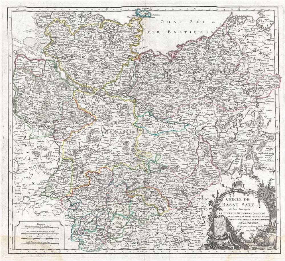 Cercle de Basse Saxe ou sont distingues les Etats de Brunswich, les Duches de Holstien, de Mecklenbourg et des Eveches d'Hildesheim, et d'Halberstadt.