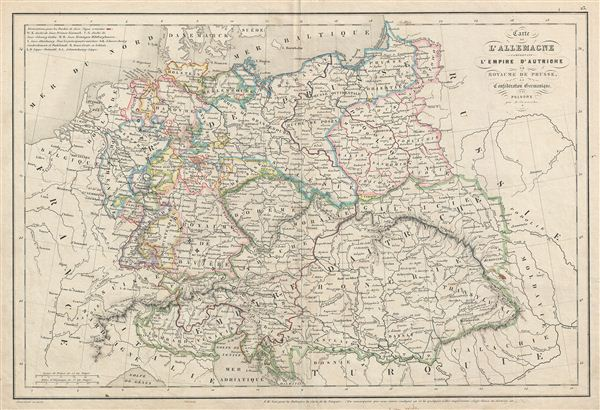 Carte d'Allemange comprenant l'Empire d'Autriche, le Royaume de Prusse, la Confederation Germanique et la Pologne. - Main View