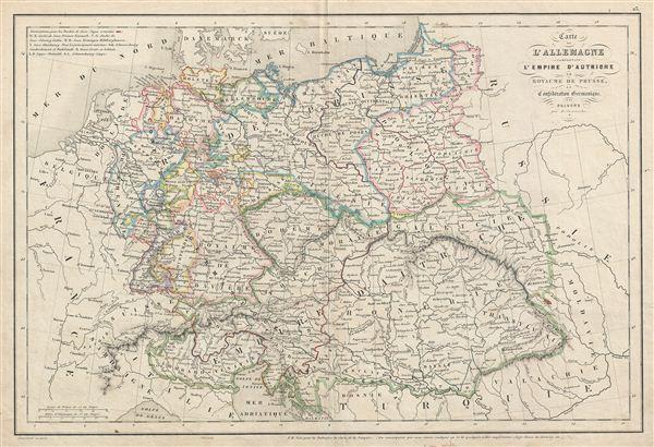 Carte d'Allemange comprenant l'Empire d'Autriche, le Royaume de Prusse, la Confederation Germanique et la Pologne.