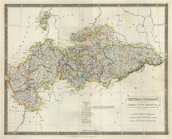 Central Germany Map.Central Germany Comprising Saxony Hesse Nassau C Geographicus