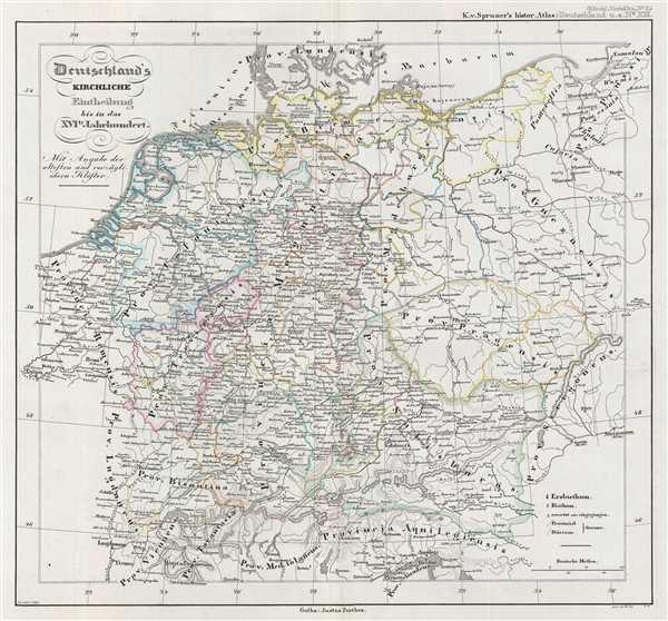 Deutschland's kirchliche Eintheilung bis in das XVIte Jahrhundert.