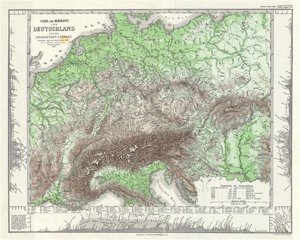 Fluss uund Bergkarte von Deutschland und den anliegenden Landern.