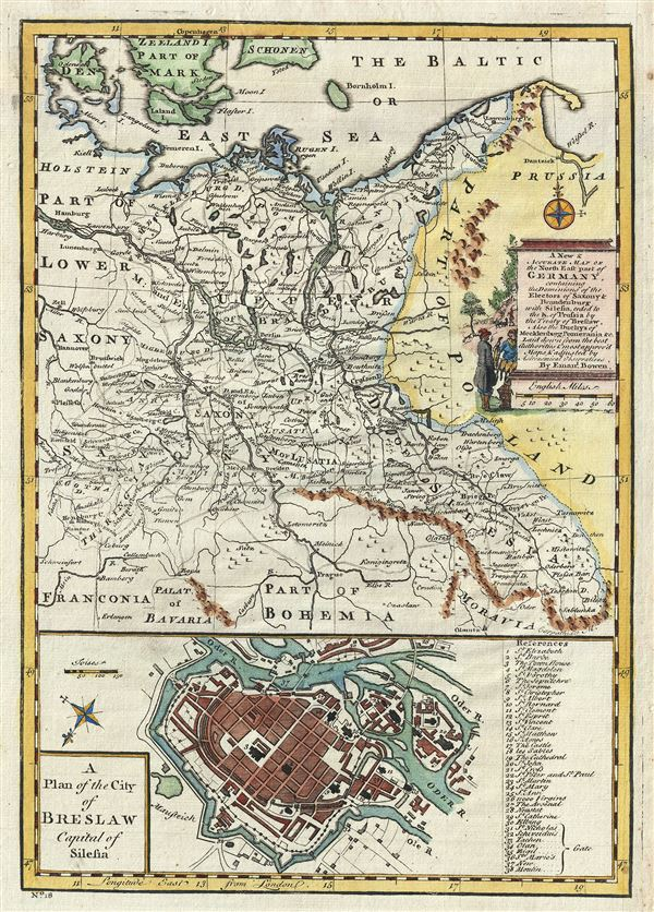 A New & Accurate Map of the North East part of Germany, containing the Dominions of the Electors of Saxony and Brandenburg with Silesia, ceded to the K. of Prussia by the Treaty of Breslaw.  Also the Duchys of Mecklenburg, Pomerania etc. - Main View