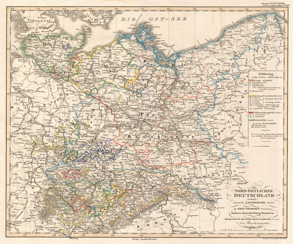Nord-ostliches Deutschland enthalt - sammtliche Saechsische Lande, die Preussischen Provinxen, Sachsen, Brandenburg,... 'North East Germany and Prussia taken from Stieler's Hand Atlas Neue Ausgabe No.XXVIII No.22]