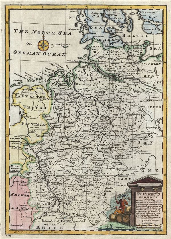 A New and Accurate Map of the Northwest part of Germany, containing Westphalia and Lowr. Saxony, wherein are included ye. domins. of ye. Electors of Brunswick Lunenburg or Hannover Cologne etc., Landgrave of Hesse, Duchys of Holstein, Juliers etc., with the Bishopricks of Munster, Osnabrug etc.