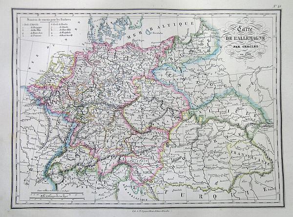 Carte de L'Allemagne par Cercles en 1789. - Main View