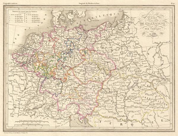 Carte De L'Allemagne Par Cercles en 1789. No. 47. Grave par Thierry.