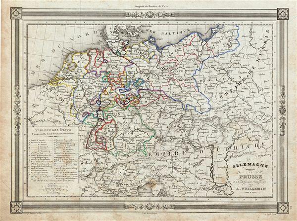 Allemagne Comprenant la Prusse et la Confederation Germanique.