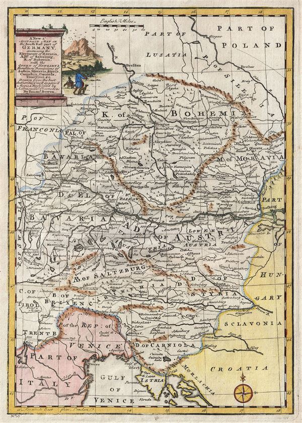 A New & Accurate Map of the South East part of Germany, containing the Electorate of Bavaria, A.Bp. of Saltzburg, K. of Bohemia, with the Queen of Hungary's Hereditary Dominions of Austria, Moravia, Styria, Carinthia, Carniola, Trent, Tirol. etc.