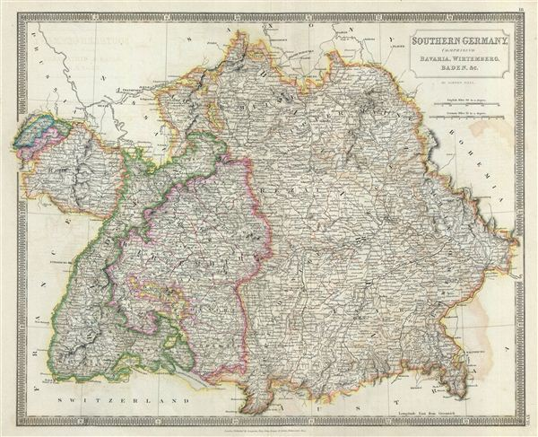 Southern Germany comprising Bavaria Wirtemberg Baden c – Map Southern Germany