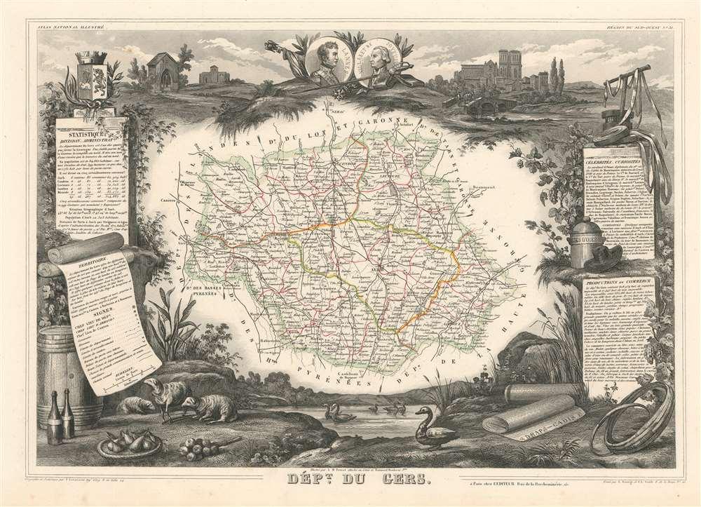 1852 Levasseur Map of the Department du Gers, France (Armagnac Region)