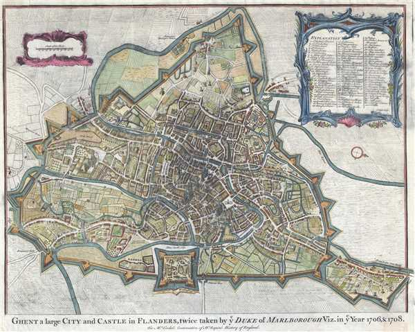 Ghent a large City and Castle in Flanders, twice taken by Duke of Marlborough Viz. in Year 1706 and 1708.