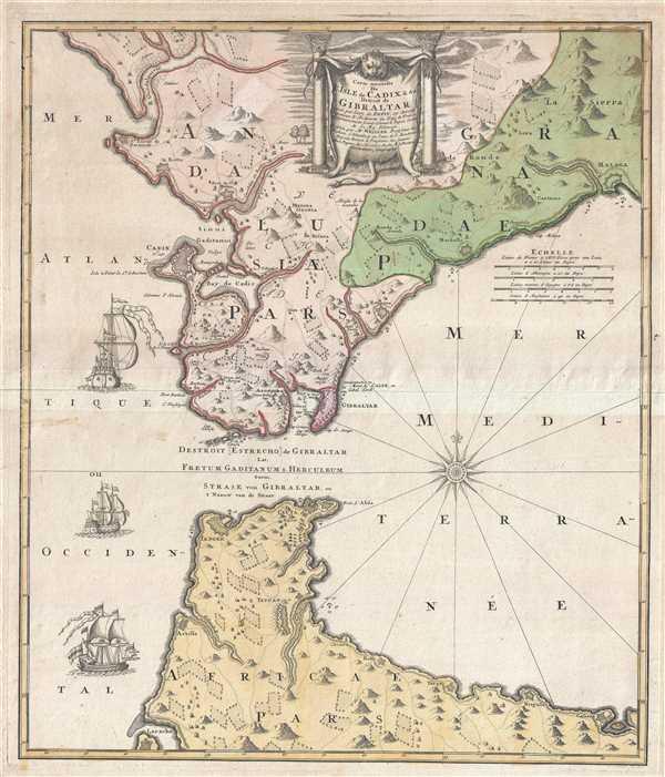 Carte nouvelle De L'Isle de Cadix et du Detroit de Gibraltar.