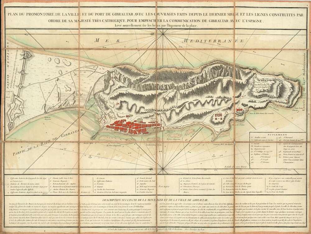 Plan du Promontoire de la Ville et du Port de Gibraltar avec les Ouvrages Faits Depuis le Dernier Siege et les Lignes Construites par Ordre de Sa Majesté très Catholique, pour Empescher la Communication de Gibraltar avec l'Espagne. - Main View