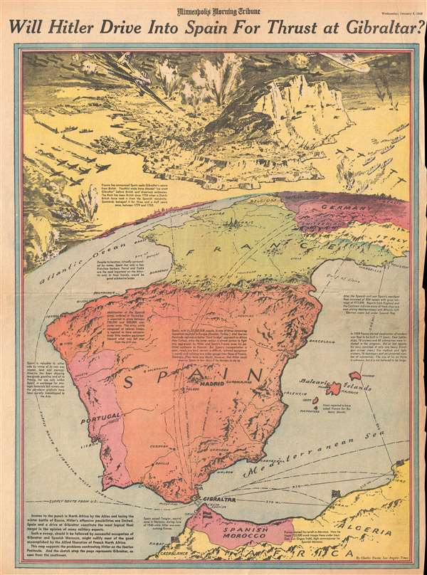 1943 Owens Pictorial Map of Possible Nazi German Attack on Gibraltar