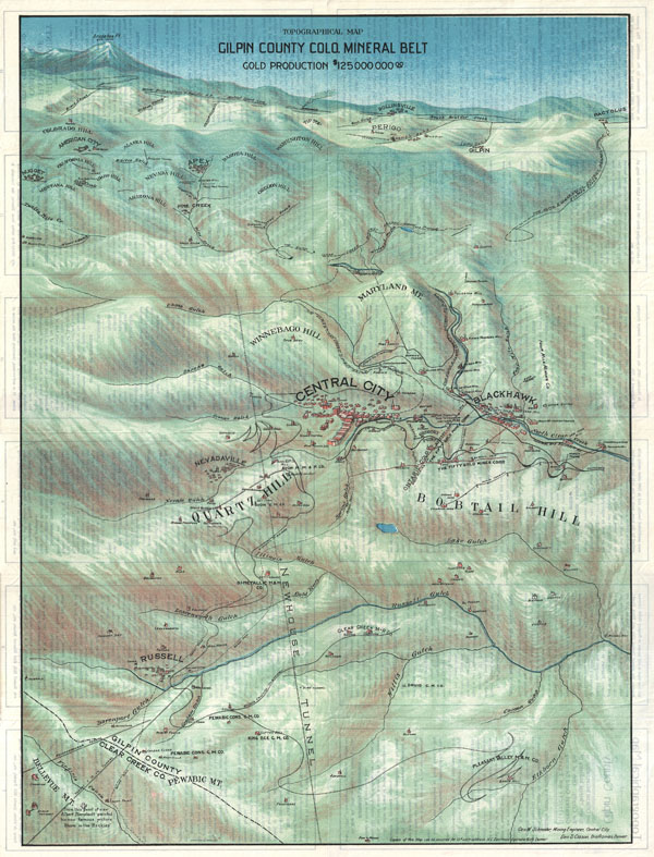Topographical Map Gilpin County Colo. Mineral Belt Gold Production $125,000,000.00.