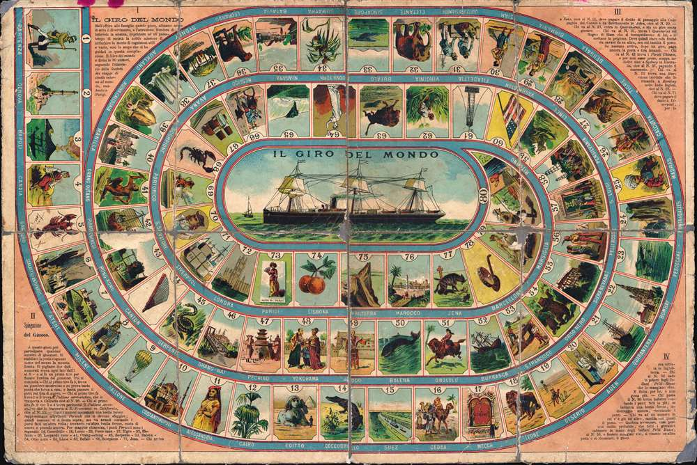 1890 Achille Italian Jules Verne Chromo Game of Goose Board Game
