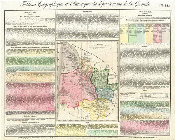 Tableau Geographique et Statistique du departement de la Gironde.