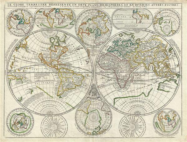Le Globe Terrestre Represente en Deux Plans - Hemispheres, et en Diverses Autres Figures.