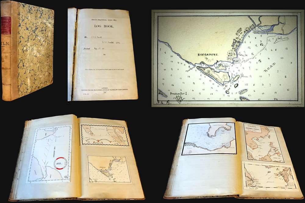 1901 Norcock Logbook for the HMS Glory, Flagship of the China Station, w/ maps of Singapore, Hong Ko