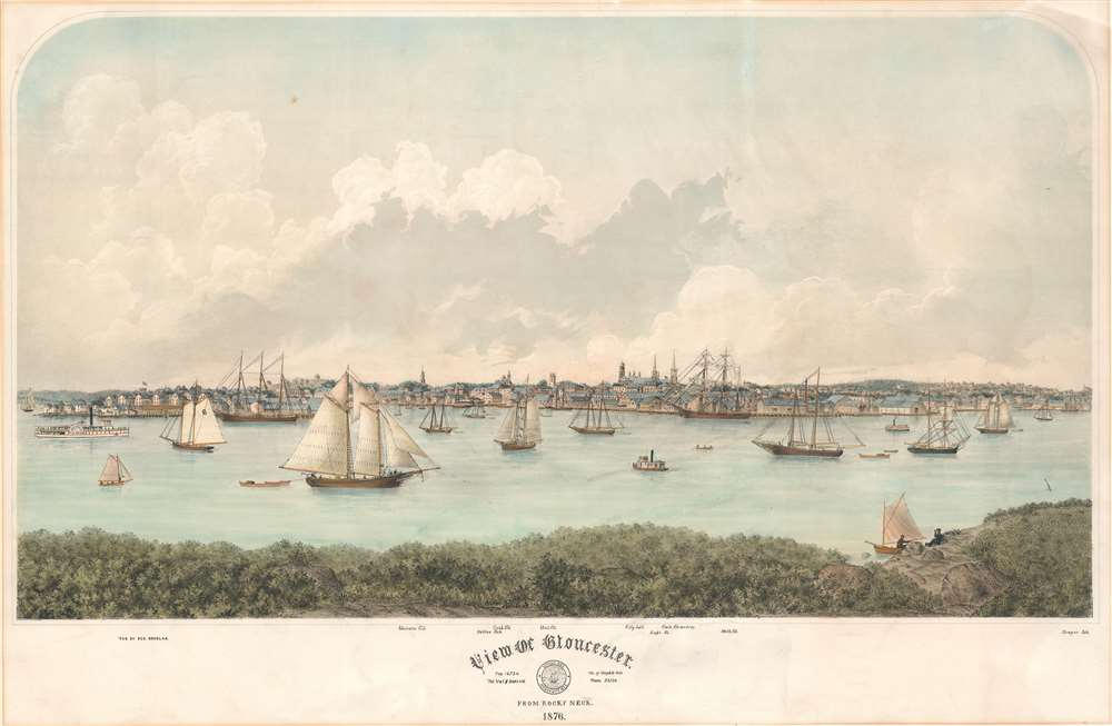 1876 F. Kimball Rogers View / Map of Gloucester, Essex, Massachusetts