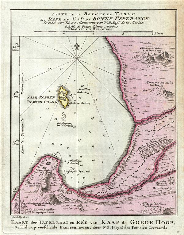 Carte de la Baye de la Table et Rade du Cap de Bonne Experance.  Kaart der Tavelbaai en Ree van Kaap de Goede Hoop.