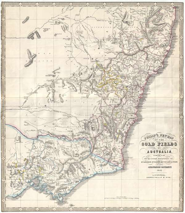 Map Of Australia New South Wales.Philip S New Map Of The Gold Fields Of Australia Comprising All The