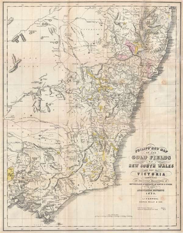 Philip's New Map of the Gold Fields of Australia comprising all the recent discoveries of Rev. W.B. Clarke, Mr. Hargraves, Mr. Hunter and others in the auriferous districts.