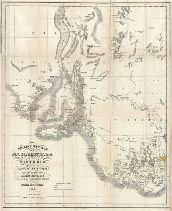 Philip's New Map of South Australia and Part of Victoria Showing the Gold Fields and other Mining Districts according to Parliamentary Returns and other Official Authorities.