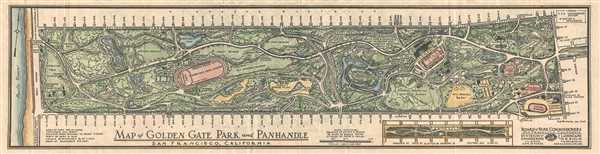 Map of Golden Gate Park and Panhandle, San Francisco, California