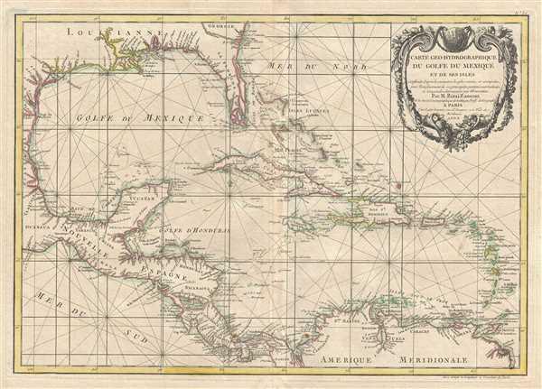Carte geo-hydrographique du Golfe du Mexique et de ses isles. Construit d'apres les memoires les plus recens, et assujeties, pour l'emplacement de ces principales positions aux latitudes et longitudes, determinees par observation.