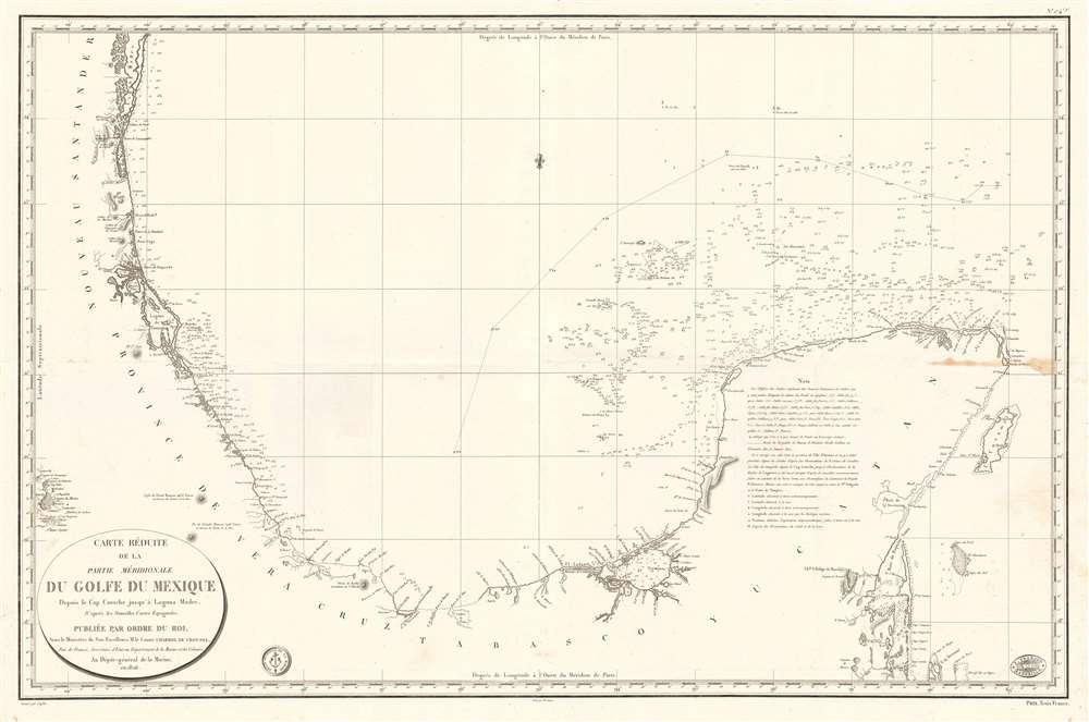 Carte Réduite de la Partie Méridionale du Golfe du Mexique Depuis le Cap Catoche jusqu'à Laguna Madre. - Main View
