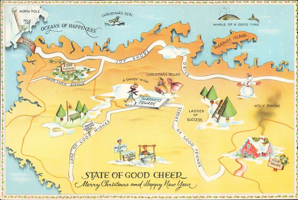 1940 Forget-Me-Not Greeting Cards Map of the State of Good Cheer for Santa