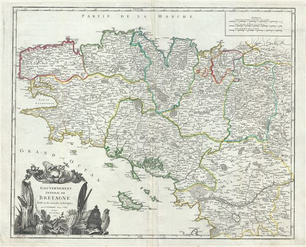 Gouvernement General de Bretagne divise en ses Dioceses ou Receptes.