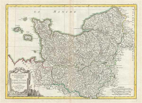 Carte du Gouvernement de Normandie avec celui du Maine et Perche.